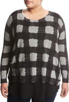 Zero Degrees Celsius Plus Georgette-Trim Plaid Sweater, Gray Pattern, Plus Size