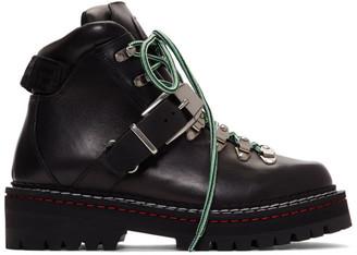 Versace Black Calfskin Buckle Boots