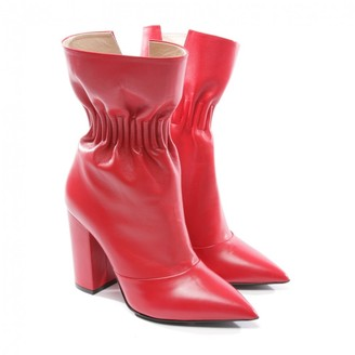 MSGM Red Leather Ankle boots