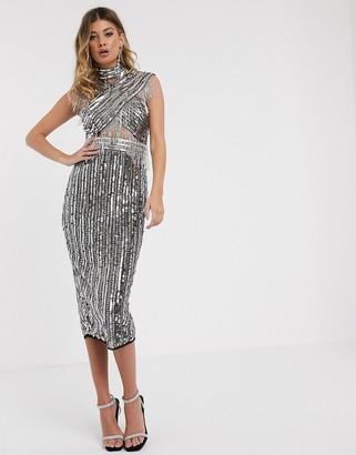 Asos Design DESIGN embellished cross detail midi dress-Black