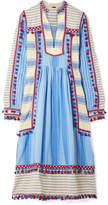 Dodo Bar Or - Tasseled Striped Cotton-gauze Midi Dress - Light blue