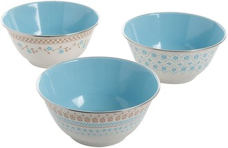 """Gibson General Store by Powder Coated Steel Hollydale 6.25"""" Bowl Set with 3 Assorted Designs"""