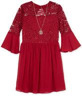 BCX Lace-Bodice Dress and Necklace Set, Big Girls (7-16)