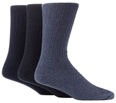 Maine New England Pack Of Three Navy And Blue Ribbed Socks With Lambswool