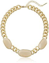 """T Tahari 2-1 Madison Gold-Tone Statement Necklace with Stones, 18"""" + 3"""" Extender"""