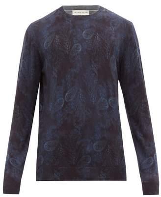 Etro Paisley Print Wool Sweater - Mens - Blue