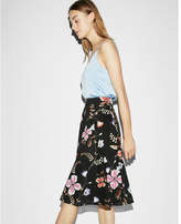 Express high waisted floral cotton midi skirt