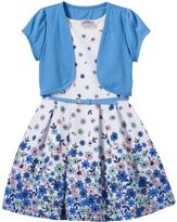 Knitworks Girls 4-6x Short Sleeve Jacket & Floral Skater Dress with Belt