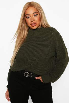 boohoo Plus High Neck Batwing Chunky Knit Jumper