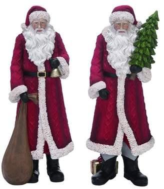 Transpac Large Resin Sweater Santa Figurine 2-Piece Set