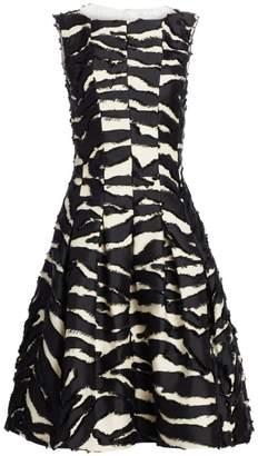 Oscar de la Renta Sleeveless Zebra A-Line Cocktail Dress