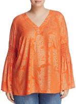MICHAEL Michael Kors Samara Gilded Bell-Sleeve Top