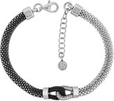 Sabrina Silver Sterling Silver Mesh Love Knot Bracelet CZ Accent Two-tone Rhodium Finish, 7 inch long + 1 inch extension