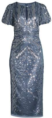 Aidan Mattox Beaded Keyhole Midi Dress