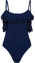 Karla Colletto Temptation Off-the-shoulder Ruffled Embellished Swimsuit - Navy
