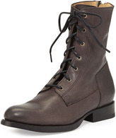 Frye Jamie Leather Lace-Up Boot, Gray