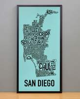 "Ork Posters Framed San Diego Neighborhoods Map, Turquoise & Black, 13"" x 26"" in Black Frame"