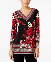 JM Collection Mixed-Print V-Neck Top, Only at Macy's