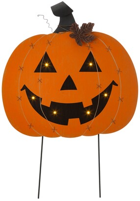 "Glitzhome 30"" H Halloween Wooden Metal Pumpkin Stake or Wall Decor"
