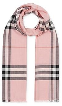 Burberry Lightweight Giant Check Wool & Silk Scarf