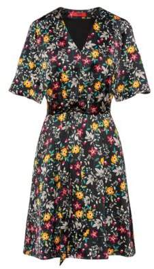 HUGO Floral-print V-neck dress with tie belt