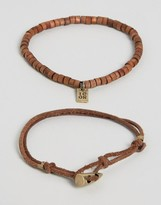 Icon Brand Brown Cord & Beaded Bracelets In 2 Pack