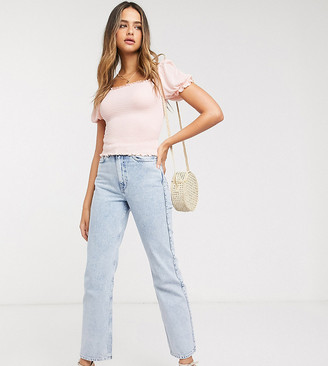 Vero Moda Tall shirred top with puff sleeves in pink