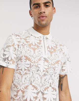 Asos DESIGN polo shirt in paisley burnout in white