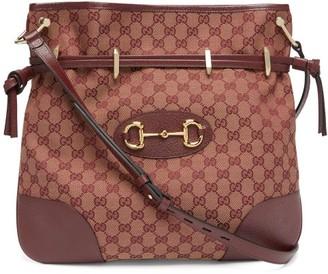 Gucci 1955 Gg-jacquard Horsebit Shoulder Bag - Womens - Red Multi