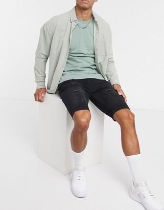 SikSilk distressed skinny shorts in black