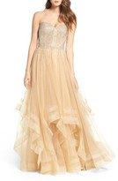 La Femme Women's Embellished Strapless Ballgown