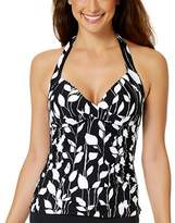 Anne Cole Twist Front Shirred Tankini.