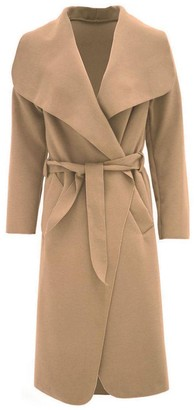 RZN Fashion Women Ladies Italian Long Duster Waterfall French Belted Jacket Trench Coat (SM to ML) - Brown - S-M