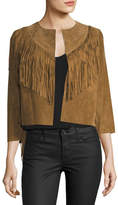 Willow & Clay Fringed-Trim Cropped Suede Jacket