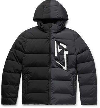 Fendi Slim-Fit Logo-Appliqued Colour-Block Quilted Nylon-Blend Hooded Down Jacket
