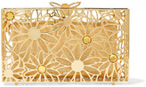 Charlotte Olympia Pandora In Bloom Crystal-embellished Gold-tone Clutch - one size