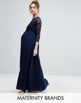 Queen Bee Lace Bodice Maxi Dress With Chiffon Skirt