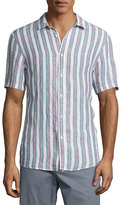 Michael Kors Slim-Striped Short-Sleeve Sport Shirt, Blue/Pink