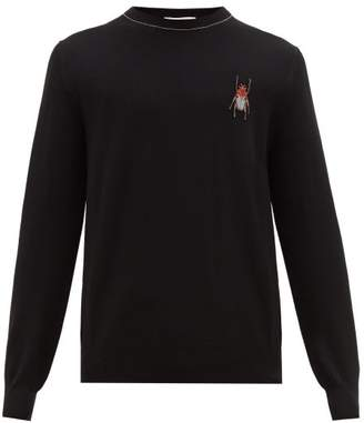 Alexander McQueen Beetle Embroidered Wool Sweater - Mens - Black