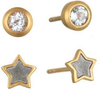 Satya White Topaz & Mini Star Stud Earring Set