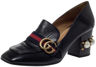 Gucci Black Leather Peyton GG Web Detail Pearl Studded Pumps Size 39.5