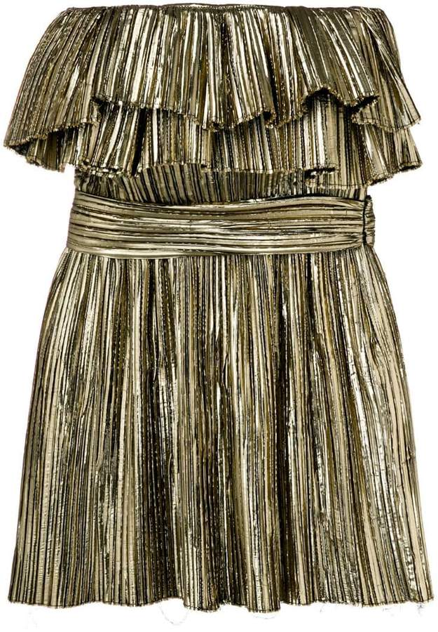Saint Laurent metallic ruffle cocktail dress