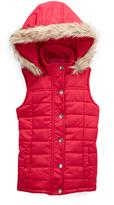 Pink Hooded Puffer Vest - Girls