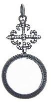 Erica Molinari Diamond Fleur de Lis Cross Magniflying Glass Pendant - Sterling Silver
