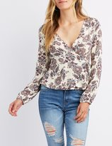Charlotte Russe Floral Wrap-Tie Top
