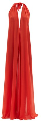 Adriana Degreas Halterneck Georgette Maxi Dress - Red