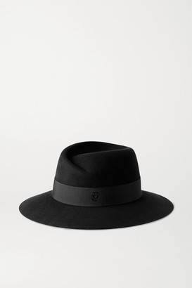 Maison Michel Virginie Grosgrain-trimmed Wool-felt Fedora - Black
