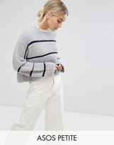 Asos Chunky Sweater With Contrast Ladder Stitch