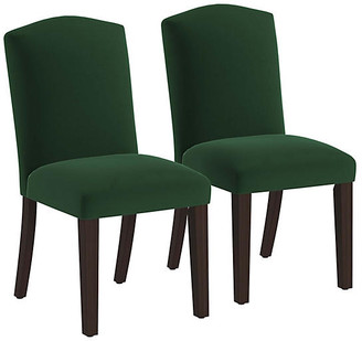 One Kings Lane Set of 2 Marie Side Chairs - Emerald Velvet - frame, espresso; upholstery, emerald
