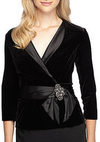 Alex Evenings Satin Detail Faux Wrap Velvet Top
